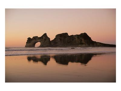 Rock with a Hole in Sunset--Art Print