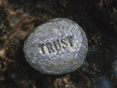Rock with the Word Trust in Water--Photographic Print