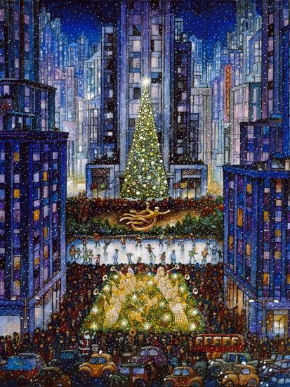 Rockefeller Center 2 Blue-Bill Bell-Premium Giclee Print