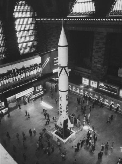 Rocket Being Displayed at Grand Central Station as a Salute to International Geophysical Year--Photographic Print