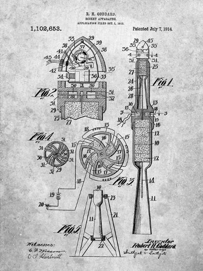 Rocket Patent-Cole Borders-Art Print
