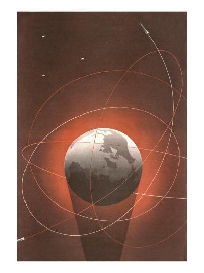 Rocket Paths Around Globe--Art Print