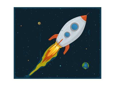 Rocket Ship Blasting Through Space-Benchart-Art Print