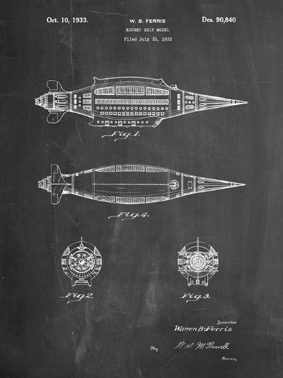 Rocket Ship Model Patent-Cole Borders-Art Print