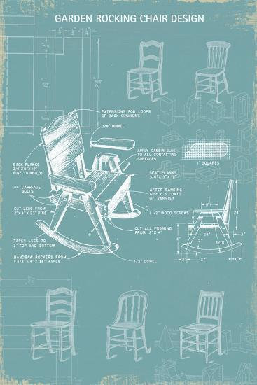Rocking Chair Blueprint-The Vintage Collection-Giclee Print
