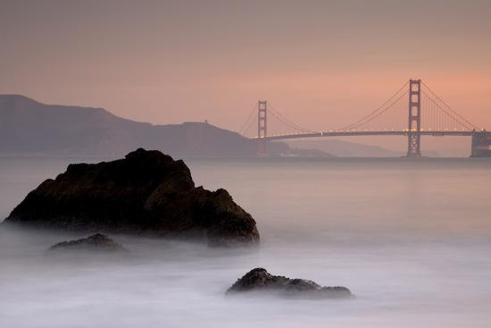 Rocks And Golden Gate Bridge-Moises Levy-Photographic Print