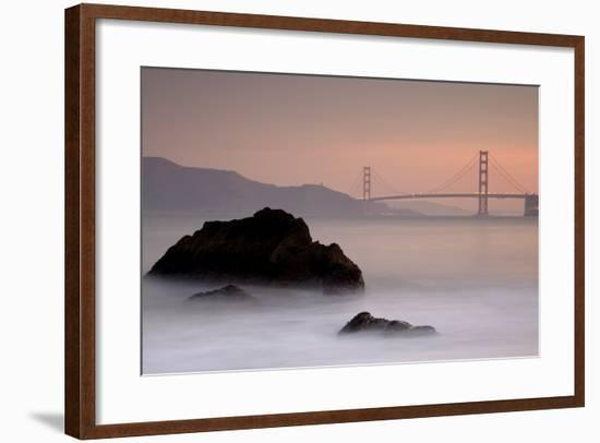 Rocks And Golden Gate Bridge-Moises Levy-Framed Photographic Print