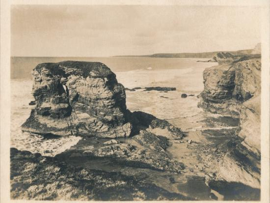 'Rocks at Porth - Newquay', 1927-Unknown-Photographic Print
