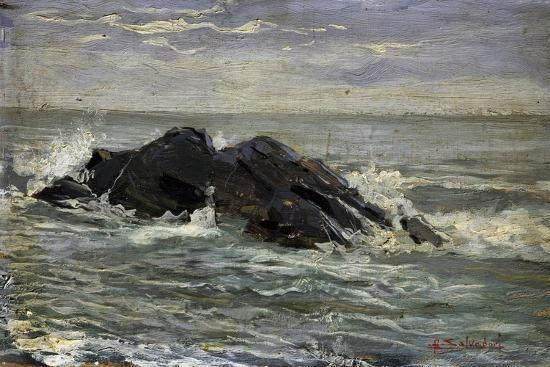 Rocks, by Riccardo Salvadori (1866-1927), Oil on Panel, 17, 8X31 Cm, Italy, 19th - 20th Century--Giclee Print