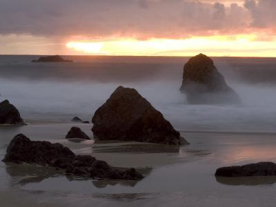 Rocks Jutting Out of the Sand on the Beach in Carmel, California-Phil Schermeister-Photographic Print