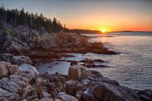 Rocks on the Coast at Sunrise, Little Hunters Beach, Acadia National Park, Maine, USA