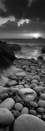 Rocky Beach at Sunset, Poprth Nanven, Cornwall-Helen Dixon-Art Print