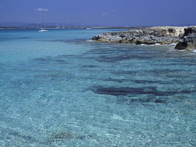 Rocky Coast and Sea, Formentera, Balearic Islands, Spain, Mediterranean, Europe-Vincenzo Lombardo-Photographic Print