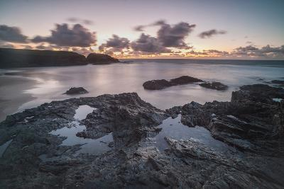 Rocky Coast at Treyarnon Bay at Sunset, Cornwall, England, United Kingdom, Europe-Matthew-Photographic Print