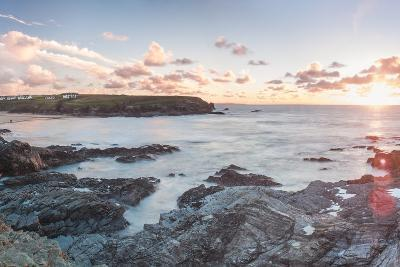 Rocky Coast at Treyarnon Bay at Sunset, Cornwall, England, United Kingdom, Europe-Matthew Williams-Ellis-Photographic Print
