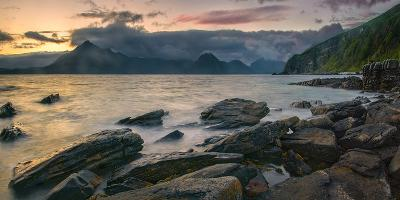 Rocky Coast of Loch Scavaig with Cuillin Mountains at Sunset, Isle of Skye, Scotland--Photographic Print