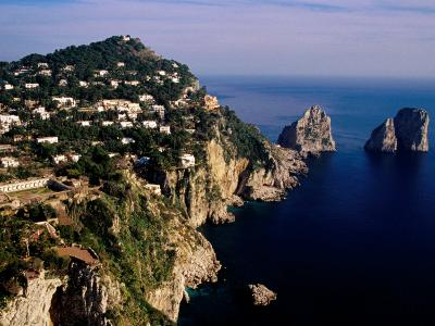 Rocky Coastline and Isola Faraglioni Offshore Rocks from Gardens of Augustus, Capri, Italy-Pershouse Craig-Photographic Print