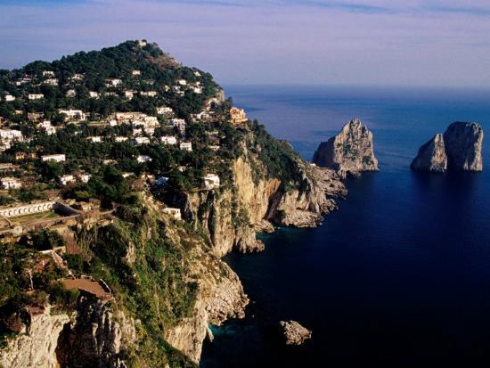 Rocky Coastline and Isola Faraglioni Offshore Rocks from Gardens of Augustus, Capri, Italy-Pershouse Craig-Photographic Print