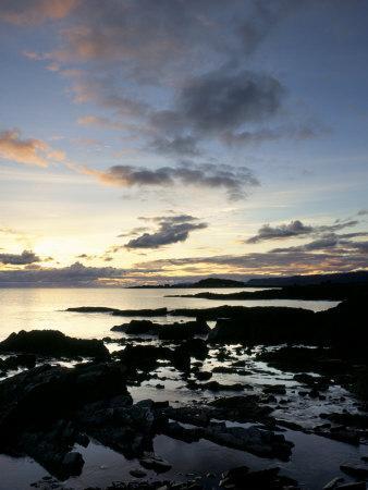 Rocky Coastline at Dusk, Looking Along the Coast to Easdale Island, Seil Island, Scotland-Pearl Bucknall-Photographic Print
