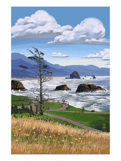 Rocky Coastline-Lantern Press-Art Print