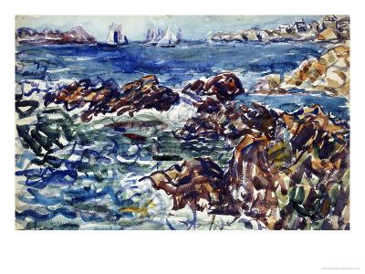 Rocky Cove with Village and Sketch of Rocks-Maurice Brazil Prendergast-Giclee Print