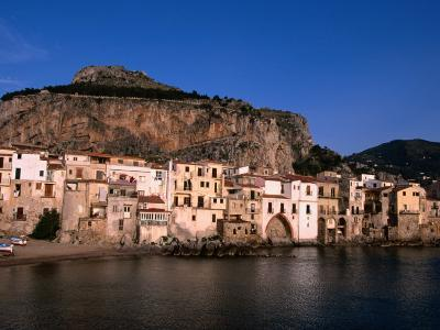 Rocky Crag Known as La Rocca (The Rocky) Rises Behind Town, Cefalu, Sicily, Italy-Stephen Saks-Photographic Print