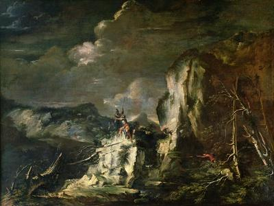 Rocky Landscape with a Huntsman and Warriors-Salvator Rosa-Giclee Print