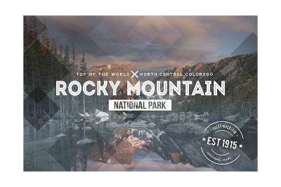 Rocky Mountain National Park - Rubber Stamp-Lantern Press-Art Print