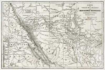Rocky Mountains Old Map, Usa-marzolino-Art Print