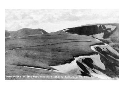 Rocky Mt Nat'l Park, Colorado - Trail Ridge Road Switchbacks near Iceberg Lake-Lantern Press-Art Print