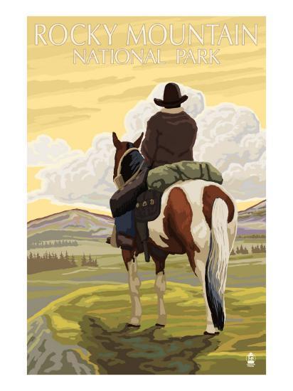 Rocky Mt. National Park, Colorado, Cowboy Scene-Lantern Press-Art Print