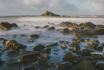 Rocky Shoreline and St. Michaels Mount, Early Morning, Cornwall, England, United Kingdom, Europe-Mark Doherty-Photographic Print