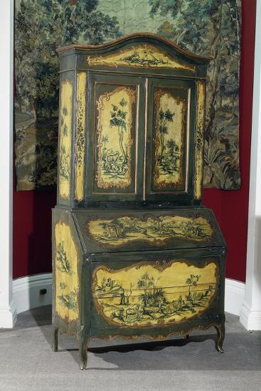 Rococo Style Lacquered Piedmont Trumeau Cabinet, Ca 1750, Italy--Giclee Print