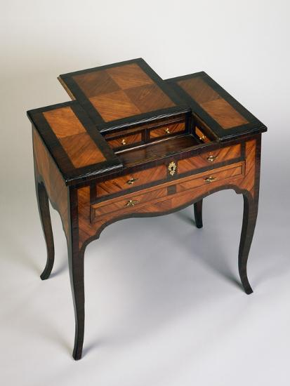 Rococo Style Writing Desk with Rosewood and Rose Veneer Finish, Venice, 1770, Italy--Giclee Print
