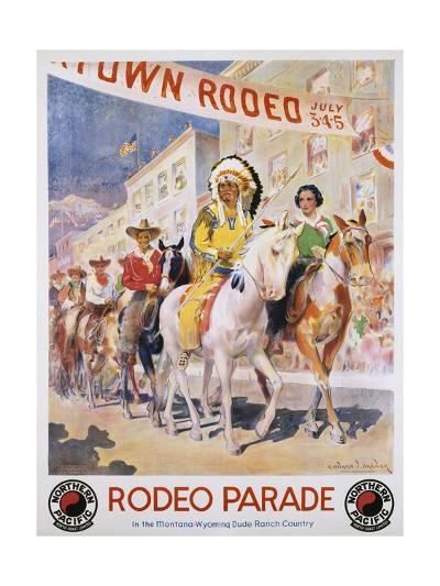 Rodeo Parade Northern Pacific Railroad Poster-Edward Brener-Giclee Print