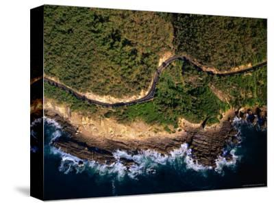 Aerial View of the Great Ocean Road along the Coast Between Lorne and Wye River, Lorne, Australia