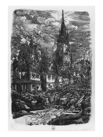 Fishing Port with Pointed Steeple, 1860 (Etching)