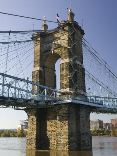 Roebling Suspension Bridge Over the Ohio River, Cincinnati, Ohio-Walter Bibikow-Photographic Print
