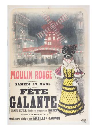Poster Advertising a 'Fete Galante' at the Moulin Rouge, Montmartre, Paris. Late 19th Century