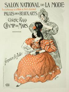 """Reproduction of a Poster Advertising the """"Salon National De La Mode,"""" Rapp Gallery, Paris, 1896 by Roedel"""