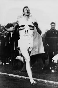 Roger Bannister Achieving the Four-Minute Mile, Oxford, Uk, May 6, 1954