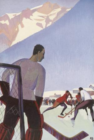 An Ice-Hockey Match in Chamonix France by Roger Broders