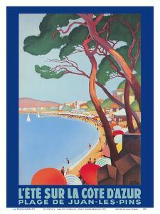 Cote D'Azur - Juan Les Pins Beach - PLM French Railroad by Roger Broders