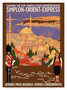 Simplon Orient-Express - London to Constantinople - Paris-Lyon-M�terran�Railway (PLM) by Roger Broders