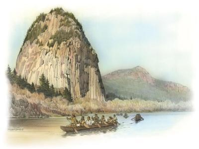 Five Canoes of Corpsmen on the Columbia River