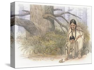 Sacagawea and Her Son are Kneeling Down, Looking at a Large Frog or Toad