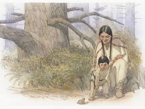 Sacagawea and Her Son are Kneeling Down, Looking at a Large Frog or Toad by Roger Cooke