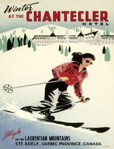 Winter at the Chantecler Hotel - Woman Skier - Laurentian Mountains - Sainte-Adèle, Quebec Canada by Roger Couillard