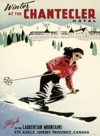 Winter at the Chantecler Hotel - Woman Skier - Laurentian Mountains - Sainte-Adèle, Quebec Canada