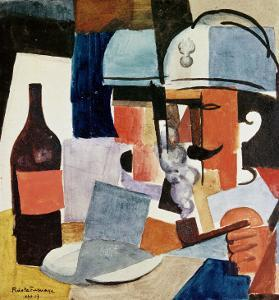 Soldier with Pipe and Bottle by Roger de La Fresnaye